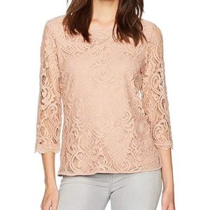 NWT Adrianna Papell Blush Pink Lace Blouse